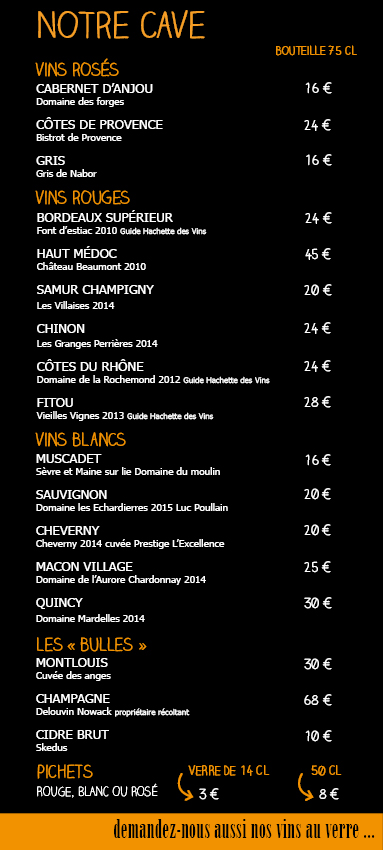 carte des vins BDC